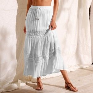 Blancheporte Dlhá krepónová sukňa s macramé biela 42/44