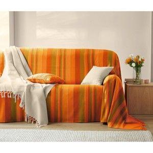 Blancheporte Tkaný pléd alebo prikrývka, multifarebné oranžová prehoz 150x150cm