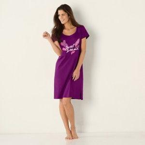Blancheporte Krátka nočná košeľa s potlačou pierok slivková 54