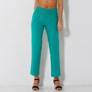 Blancheporte 7/8 nohavice ľan/bavlna zelená 40