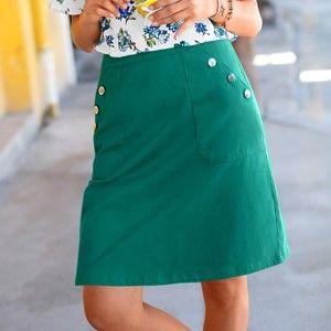 Blancheporte Džínsová sukňa s vreckami a gombíkmi zelená 50