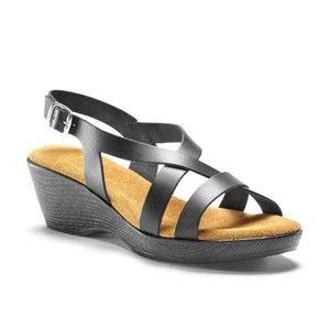 Blancheporte Kožené prekrížené sandále na kline, čierna čierna 41