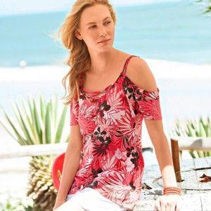 Blancheporte Tričko s odhalenými ramenami a tropickým vzorom koralová/ružová 42/44