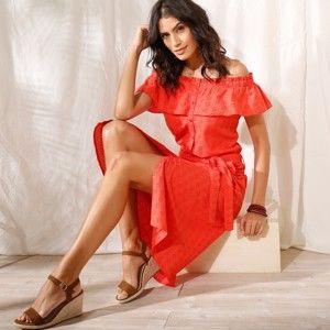 Blancheporte Košeľové šaty s anglickou výšivkou oranžová 46