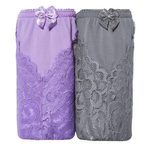Blancheporte Čipkové shorty, súpr. 2 ks lila+sivá 42/44