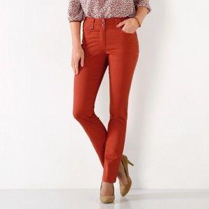Blancheporte Rovné nohavice s vysokým sťahujúcim pásom papriková 36
