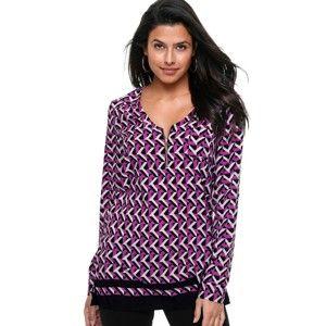 Blancheporte Tunika so zipsom a grafickým dizajnom purpurová/čierna 58