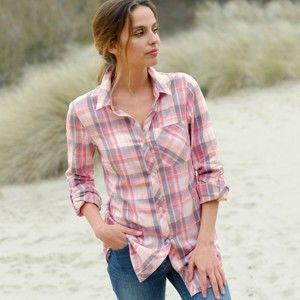 Blancheporte Flanelová košeľa, potlač kocka ružová/sivá 48