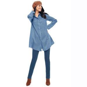 Blancheporte Tunika, grafický dizajn modrá džínsová 56