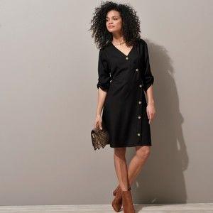 Blancheporte Šaty s asymetrickou gombíkovou légou, jednofarebné čierna 46