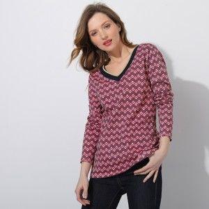 """Blancheporte Tričko s výstrihom do """"V"""", grafický dizajn nám.modrá/ružová 42/44"""