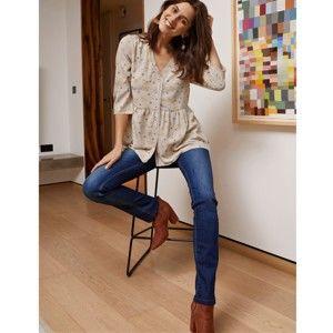 Blancheporte Rovné džínsy, koženkové detaily modrá 36