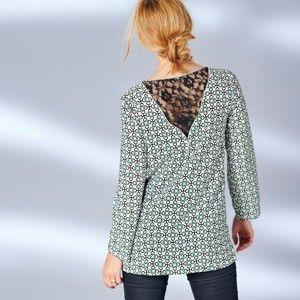 Blancheporte Blúzka v grafickom dizajne čierna/zelená 40
