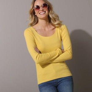 Blancheporte Jednofarebné tričko s dlhými rukávmi šafranová 34/36
