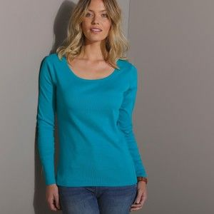 Blancheporte Jednofarebné tričko s dlhými rukávmi tyrkysová 52