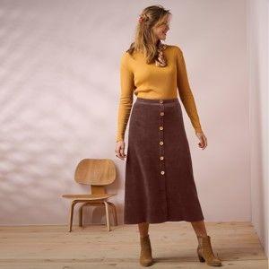 Blancheporte Menčestrová sukňa s gombíkmi čokoládová 50