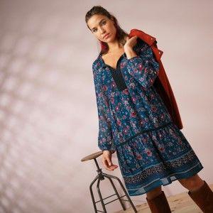 Blancheporte Volánové šaty s potlačou a macramé tmavomodrá/ružová 52