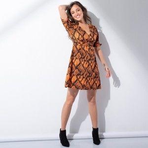 Blancheporte Šaty so vzorom hadej kože čierna/oranžová 48
