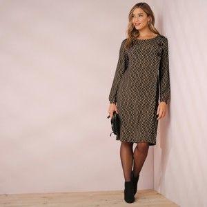 Blancheporte Šaty s gombíkmi čierna/oriešková 46