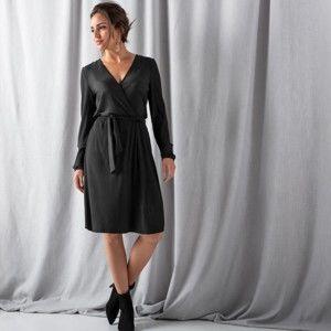 Blancheporte Plisované šaty s prekrížením čierna 46/48