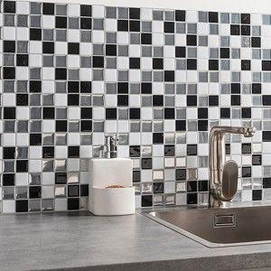 Blancheporte Samolepiace obklady na stenu, mozaika, 2 ks čierna/biela/striebristá 30,5x25cm