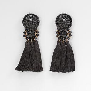Blancheporte Náušnice so strapcami čierna
