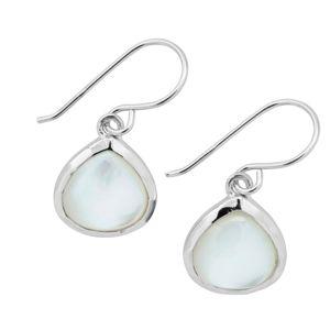 Blancheporte Náušnice zo striebra a bielej perleti perleťová biela