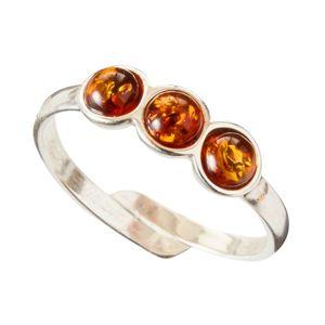 """Blancheporte Upraviteľný prsteň """"3 kamienky"""", jantár a striebro prsteň"""