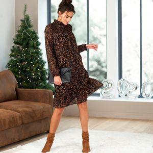 Blancheporte Šaty s potlačou čierna/karamelová 54