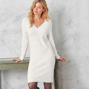 Blancheporte Pulóvrové šaty s vrkočovým vzorom béžový melír 52
