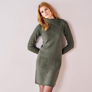Blancheporte Pulóvrové šaty s vrkočovým vzorom khaki 46/48