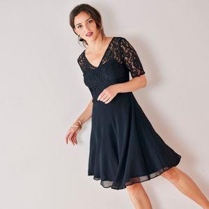 Blancheporte Šaty s čipkou čierna 44