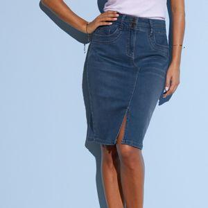 Blancheporte Džínsová sukňa s rázporkom modrá 36