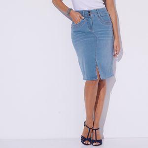 Blancheporte Džínsová sukňa s rázporkom zapratá modrá 42