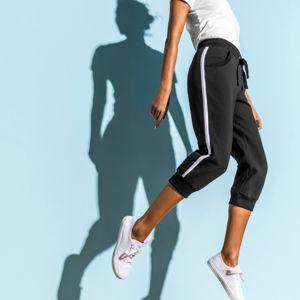 Blancheporte 3/4 športové nohavice, dvojfarebné čierna/biela 34/36