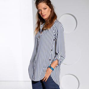 Blancheporte Pruhovaná košeľa modrá/biela 46