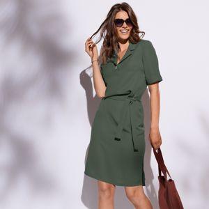 Blancheporte Košeľové šaty jednofarebné khaki 52