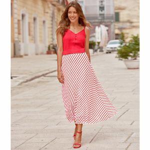 Blancheporte Plisovaná sukňa s potlačou biela/červená 46