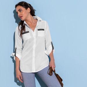 Blancheporte Jednofarebná košeľa s dlhými rukávmi biela 42