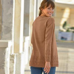 Blancheporte Ažúrový sveter bez zapínania oriešková 50