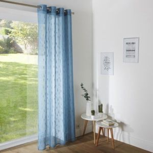 Blancheporte Voálová záclona so strieborným motívom modrosivá 140x240cm