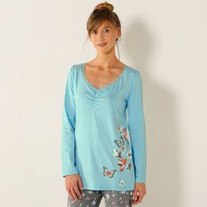Blancheporte Pyžamové tričko s dlhými rukávmi, stredová potlač motýľov bledomodrá 34/36