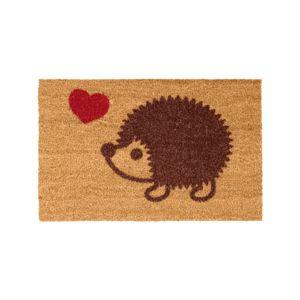 Blancheporte Obdĺžniková rohožka s motívom ježka gaštanová 40x60 cm