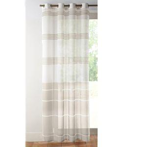 Blancheporte Voálová záclona s pruhmi biela/béžová 135x260cm