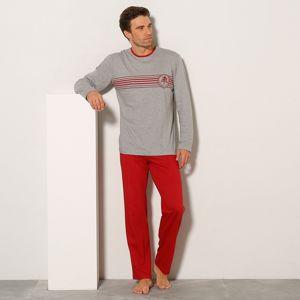 Blancheporte Pyžamo s nohavicami a dlhým rukávom červená/sivý melír 87/96 (M)