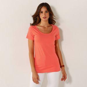 Blancheporte Jednofarebné tričko s okrúhlym výstrihom broskyňová 42/44