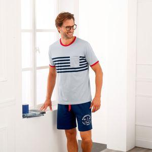 Blancheporte Pyžamo so šortkami v námorníckom štýle sivá/nám.modrá 77/84 (S)