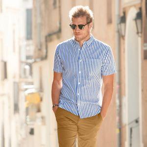 Blancheporte Kockovaná košeľa s krátkymi rukávmi biela/modrá 43/44