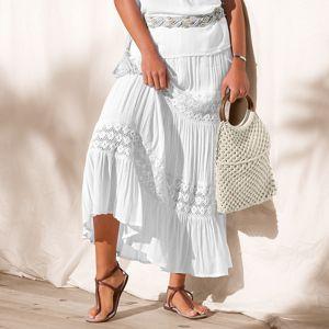 Blancheporte Dlhá sukňa s macramé biela 50