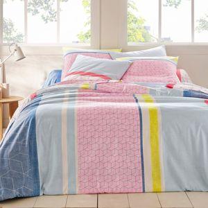 Blancheporte Posteľná bielizeň Mika, bavlna modrá/ružová obliečka na vankúš 65x65cm